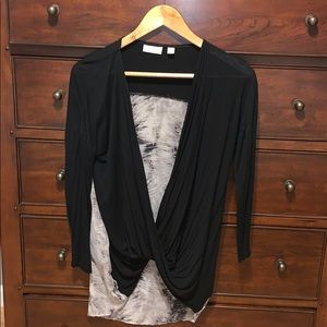 Black Blouse with Patterned Back.